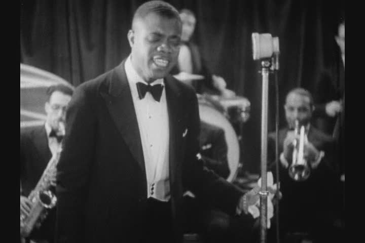 Still from 1933 film of Louis Armstrong in Copenhagen, Denmark.