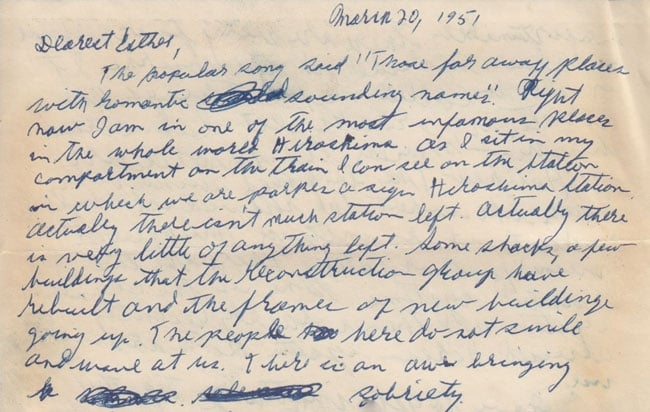 Letter from Paul Greenberg to Esther Greenberg, March 20, 1951 (excerpt)